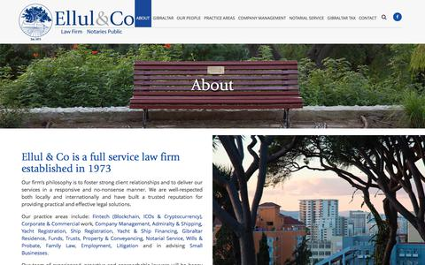 Screenshot of About Page ellulco.com - Ellul & Co | About | Gibraltar Lawyers | Notaries - captured July 18, 2018