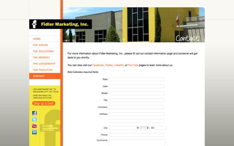 Screenshot of Contact Page fidlermarketing.com - Contact Fidler Marketing  :: Fidler Marketing, Inc. - captured Sept. 30, 2014