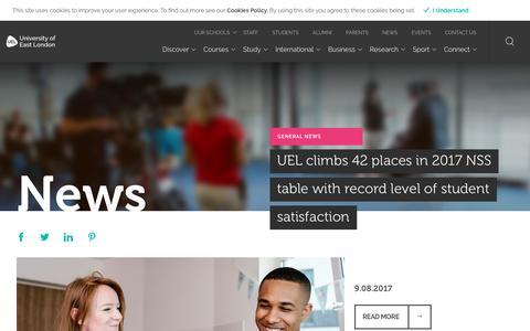 Screenshot of Press Page uel.ac.uk - News - University of East London (UEL) - captured Sept. 23, 2017