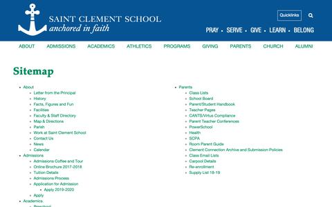 Screenshot of Site Map Page stclementschool.org - Sitemap - Saint Clement School - captured Nov. 1, 2018