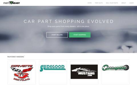 Screenshot of Home Page partsbeast.com - Used Car Parts. Buy. Sell. Save. - PartsBeast.com - captured Jan. 25, 2016