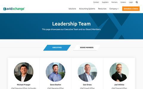 Screenshot of Team Page avidxchange.com - Management & Leadership Team | AvidXchange - captured May 15, 2019
