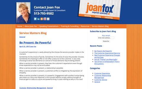 Screenshot of Blog joanfox.com - Service Matters Blog - JoanFox.com - captured Jan. 24, 2016