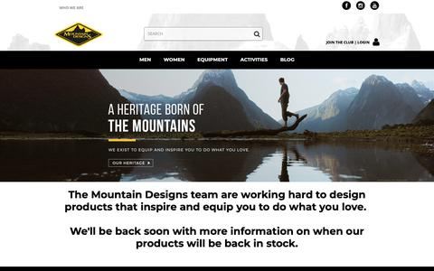 Screenshot of Home Page mountaindesigns.com - Outdoor Clothing, Footwear & Adventure Gear - Mountain Designs - captured Oct. 9, 2018