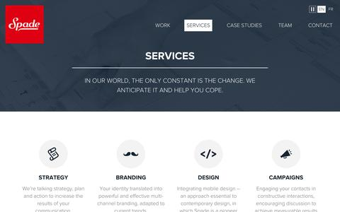 Screenshot of Services Page spade.be - Spade - Services - captured Oct. 9, 2014