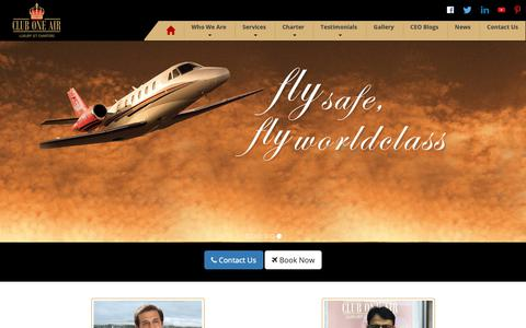 Screenshot of Home Page cluboneair.com - Book Luxury Private Jet | Hire Private Jet Flights - Club One Air - captured Nov. 5, 2018
