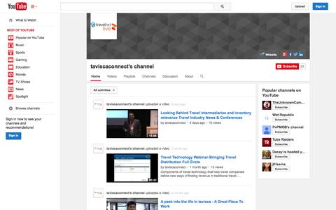 Screenshot of YouTube Page youtube.com - taviscaconnect's channel  - YouTube - captured Oct. 26, 2014