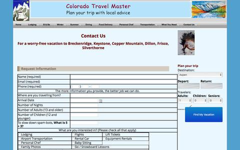 Screenshot of Contact Page coloradotravelmaster.com - Contact Colorado Travel Master | Contact Us Form for travel to Breckenridge, Keystone, Frisco, Dillon, Silverthorne, Copper Mountain | Colorado Travel Master - captured Dec. 10, 2015