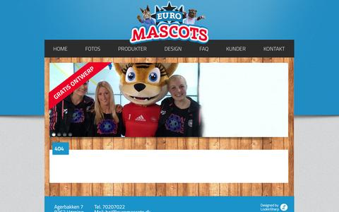 Screenshot of FAQ Page euromascots.dk - Euromascots - 404 - captured Oct. 1, 2014