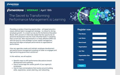 Screenshot of Landing Page cornerstoneondemand.com - CSOD   Webinar: The Secret to Transforming Performance Management is Learning - captured March 30, 2017