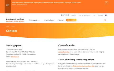 Screenshot of Contact Page groningenairport.nl - Contact › Groningen Airport Eelde - captured Sept. 24, 2018