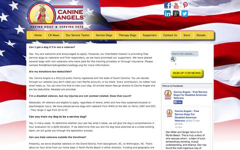 Screenshot of FAQ Page canineangelsservicedogs.org - FAQs - Canine Angels Service Dogs   Canine Angels Service Dogs - captured Sept. 27, 2014