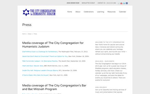Screenshot of Press Page citycongregation.org - Press   The City Congregation for Humanistic Judaism - captured Oct. 26, 2014