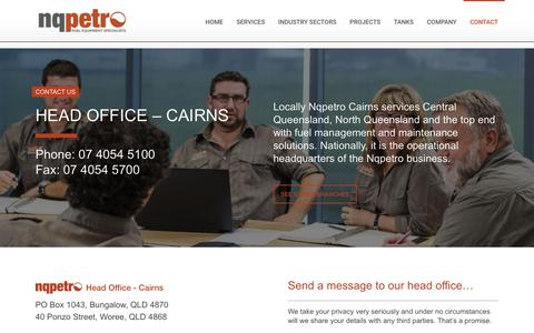 Screenshot of Contact Page nqpetro.com.au - Nqpetro Head Office | Cairns, Queensland | Contact Details - captured June 15, 2017