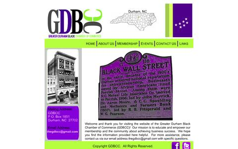 Screenshot of Home Page gdbcc.org - The Greater Durham Black Chamber of Commerce - captured Sept. 4, 2015