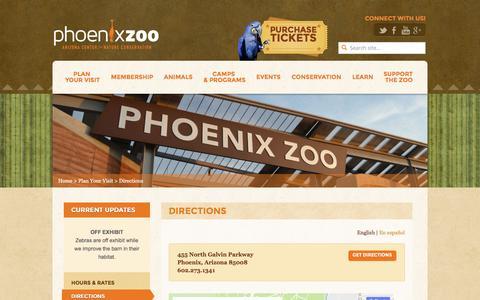 Screenshot of Maps & Directions Page phoenixzoo.org - Directions - Phoenix Zoo - captured Sept. 26, 2016