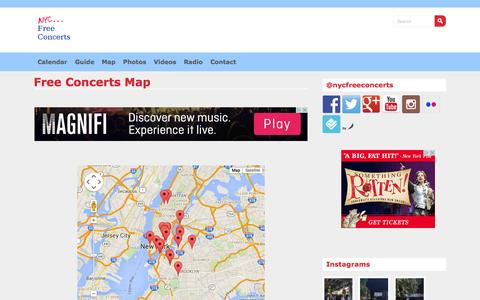 Screenshot of Maps & Directions Page nycfreeconcerts.com - Free Concerts Map - NYC FREE CONCERTS - captured Sept. 22, 2015