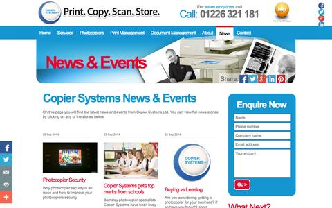 Screenshot of Press Page photocopier-photocopier.co.uk - News & Events | Copier Systems Ltd - captured Oct. 3, 2014