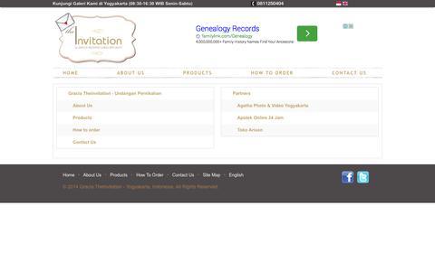Screenshot of Site Map Page theinvitation.co.id - Kartu Undangan Pernikahan di Yogyakarta - Undangan Pernikahan Jogja -Gracia Theinvitation - captured Oct. 3, 2014