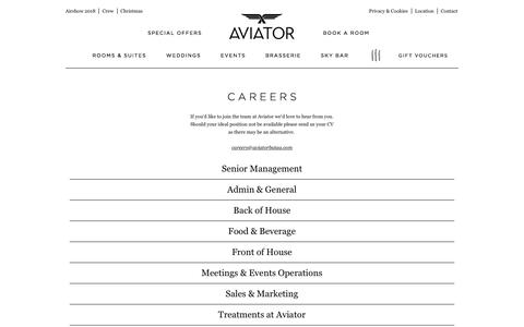 Screenshot of Jobs Page aviatorbytag.com - Hospitality Jobs and Vacancies | Luxury hotel Surrey / Hampshire borders - captured Oct. 9, 2017