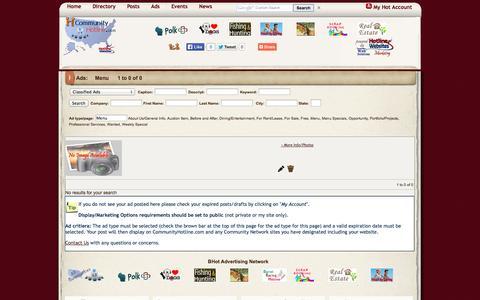 Screenshot of Menu Page communityhotline.com - Classifieds Ads - captured Oct. 2, 2014