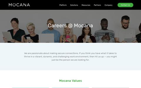 Screenshot of Jobs Page mocana.com - Careers | Join Mocana Cybersecurity - Competive Compensation and Benefits - captured July 12, 2018