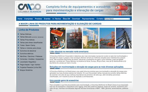 Screenshot of Menu Page cmdobrasil.com.br - CM Brasil | Linha Completa de Produtos para Elevação de Cargas - captured April 16, 2016