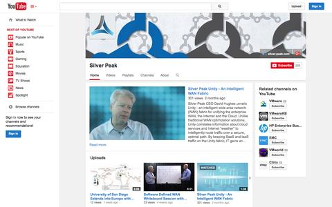 Screenshot of YouTube Page youtube.com - Silver Peak  - YouTube - captured Oct. 22, 2014