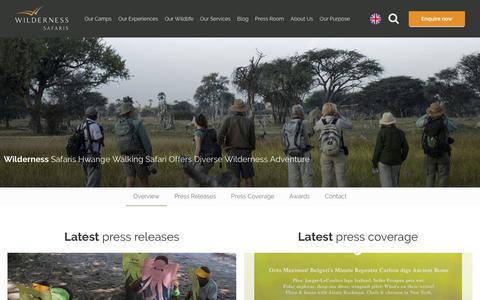 Screenshot of Press Page wilderness-safaris.com - Africa's Leading Safari Tour Operator | Wilderness Safaris | Wilderness Safaris - captured Oct. 19, 2018