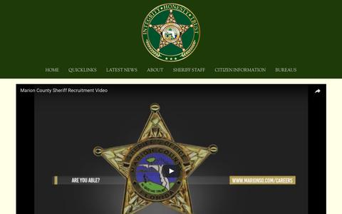 Screenshot of Jobs Page marionso.com - RECRUITMENT — Marion County Sheriff's Office - captured June 25, 2017