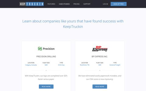 Screenshot of Case Studies Page keeptruckin.com - Fleet Management Case Studies - KeepTruckin - captured May 9, 2017