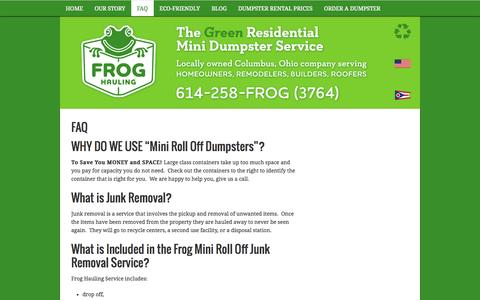 Screenshot of FAQ Page froghauling.com - Trash Hauling, Junk Removal, Dumpster Rental - captured Sept. 30, 2014