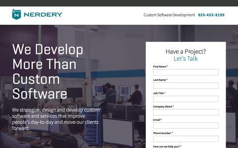 Screenshot of Landing Page nerdery.com - Custom Software Development | The Nerdery | Nerdery - captured June 6, 2017