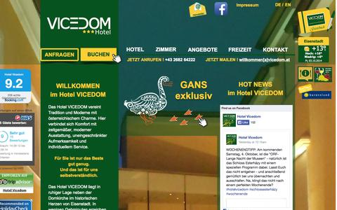 Screenshot of Home Page vicedom.at - Hotel VICEDOM - Eisenstadt - captured Oct. 3, 2014