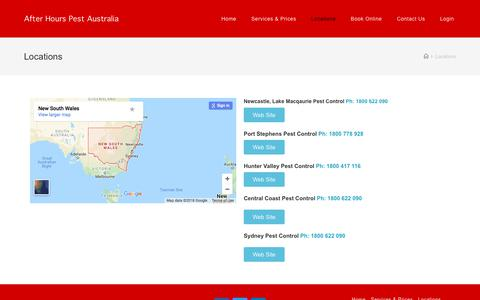 Screenshot of Locations Page afterhourspestcontrol.com.au - Locations | After Hours Pest Australia - captured July 29, 2018