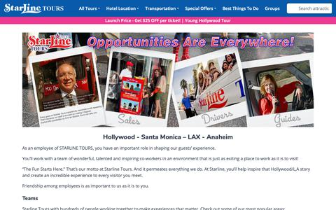 Screenshot of Jobs Page starlinetours.com - Find a career with Starline Tours |Hospitality | Jobs - captured Nov. 16, 2018