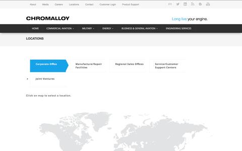 Screenshot of Locations Page chromalloy.com - Locations - captured July 13, 2016
