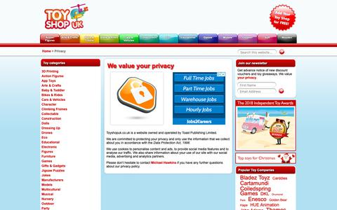 Screenshot of Privacy Page toyshopuk.co.uk - Toy Shop UK - Privacy Policy - captured Sept. 27, 2018