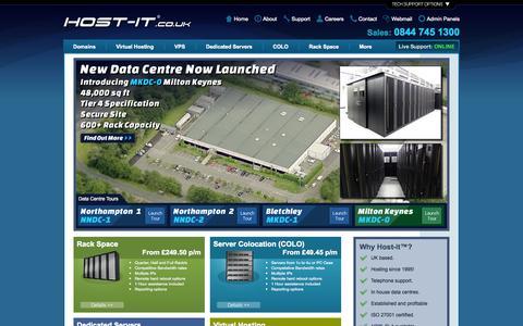 Screenshot of Home Page host-it.co.uk - Host-it™ - UK Server and Website Hosting since 1995 - captured Jan. 26, 2015
