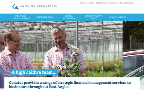 Screenshot of Home Page conatusassociates.co.uk - Conatus Associates Limited | A range of strategic financial management services to businesses throughout East Anglia. - captured Aug. 9, 2016