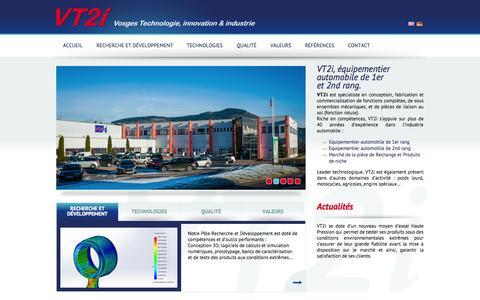 Screenshot of Home Page vt2i.com - Equipementier automobile / Liaison au sol / Conception et fabrication / Rotule / Fabrication française - captured Oct. 7, 2014