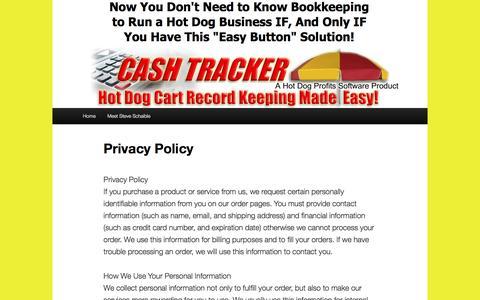 Screenshot of Privacy Page hotdogcashtracker.com - Privacy Policy - Hot Dog Cash TrackerHot Dog Cash Tracker - captured April 10, 2016