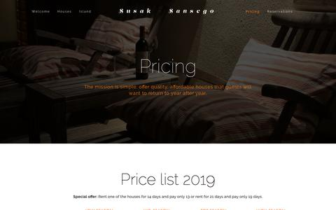 Screenshot of Pricing Page susak.si - Pricing — Susak - Sansego - captured Oct. 20, 2018