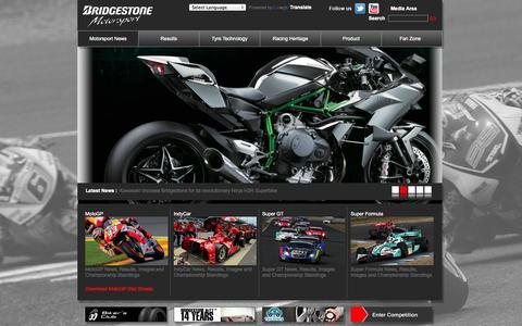 Screenshot of Home Page bridgestonemotorsport.com - Bridgestone Motorsport   MotoGP, IndyCar   Motorsport News, Results, Tyres - captured Oct. 5, 2014