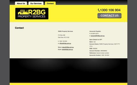Screenshot of Contact Page r2bg.com.au - R2BG - Contact | R2BG - 1300 106 904 - captured Feb. 27, 2016