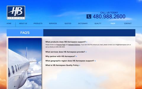 Screenshot of FAQ Page hbaerospace.com - Aviation Products and Services FAQs | HB Aerospace - captured Sept. 26, 2014