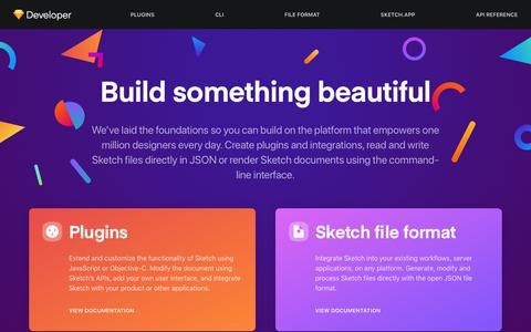 Screenshot of Developers Page sketch.com - Sketch Developer — Build something beautiful - captured Jan. 21, 2020