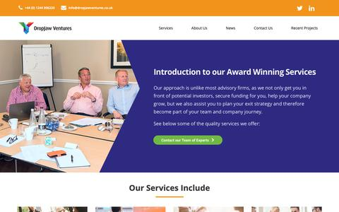 Screenshot of Services Page dropjawventures.co.uk - Our Award Winning Services | Business Advisory | DropJaw Ventures - captured Oct. 9, 2018