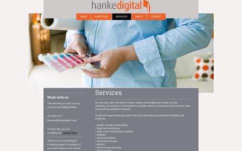 Screenshot of Services Page hankedigital.com - hankedigital services - captured Jan. 25, 2016