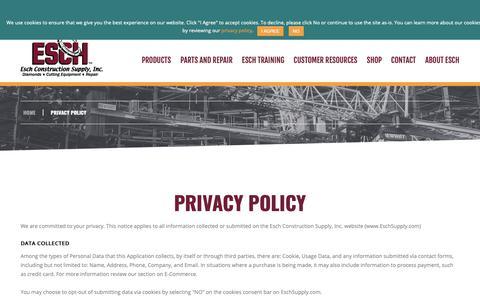 Screenshot of Privacy Page eschsupply.com - Privacy Policy | Esch Construction Supply, Inc. - captured Nov. 10, 2018